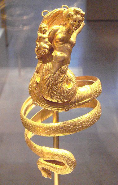 Armband with Triton holding a Putti, Greek 200 BCE