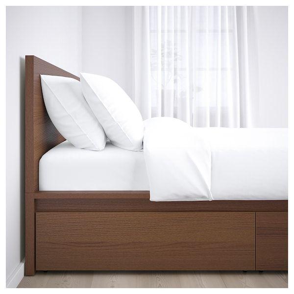 Malm Bedframe Hoog Met 2 Bedlades Bruin Gelazuurd Essenfineer Luroy 140x200 Cm Ikea Malm Bed Frame High Bed Frame Malm Bed