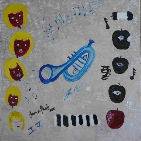 FOR SALE $900 +pp - The Apple of My Eye - original painting by James Morrison, Emma Pask and Jim Berardo - Fundraiser for The Sunshine Coast Community Hospice (http://doodlejam.com.au/html/profile/doodle.php?doid=177) - vibrant group paintings using doodles #DoodleJam