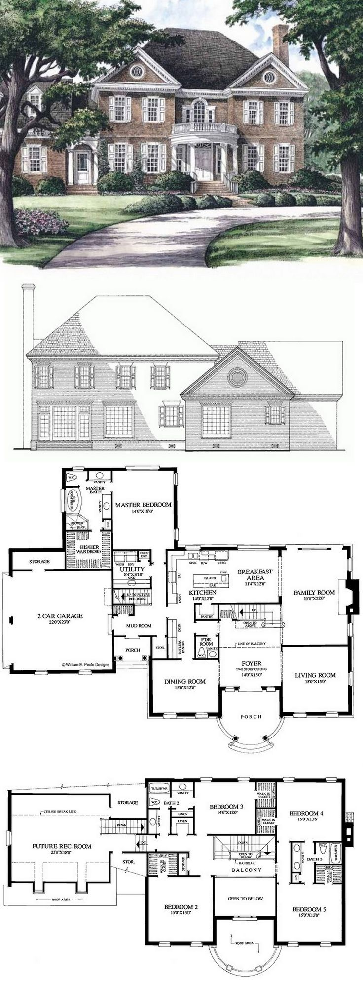 Georgian House Plan with 3951 Square Feet and 5 Bedrooms from Dream Home Source | House Plan Code DHSW50281