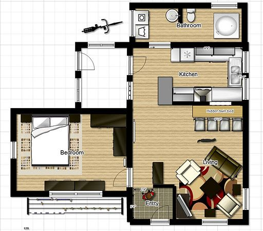 One bedroom house floor plans put the bathroom where the back porch is and install a bathtub and - Small space apartment floor plans ...