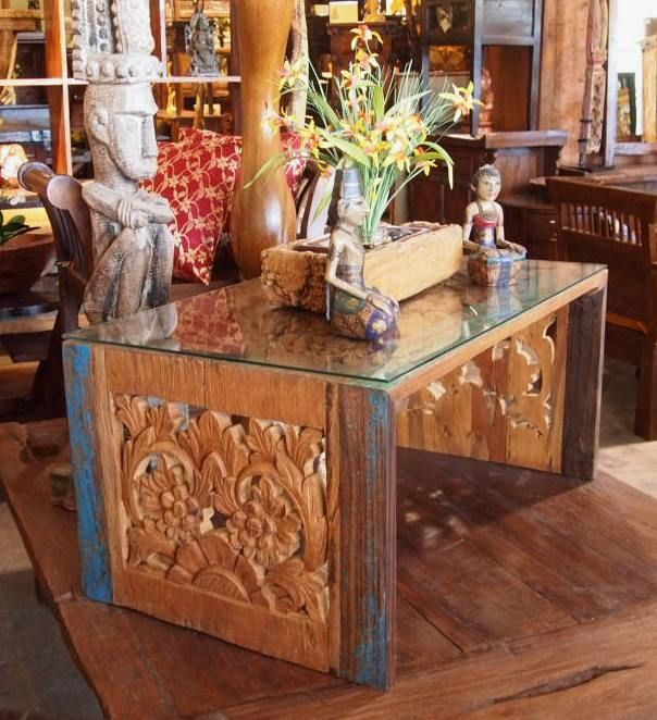 Distressed Wood Carved Coffee Table | Gado Gado Bali Style Furniture