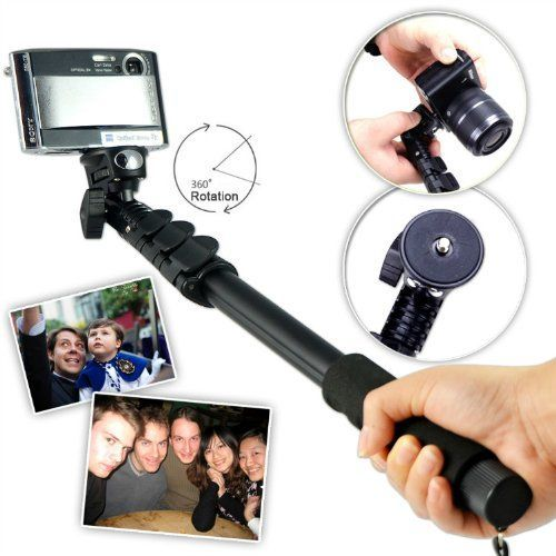 First2savvv ZP-188A01 black Self-portrait extendable telescopic handheld Pole Arm monopod Camcorder/Camera/mobile phone tripod mount adapter bundle for SONY DSC-W550
