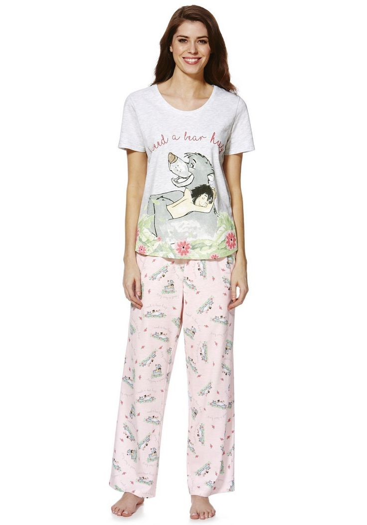 <li><p>Featuring your favourite Mowgli and Baloo characters from The Jungle Book, this pure cotton pyjama set from Disney is great for refreshing your nigtwear collection. With an I Need A Bear Hug slogan on the front of the t-shirt and a Mowgli and Baloo print, the pyjama set is complete with co-ordinating all-over printed bottoms and a ribbon tie fastening at the waistband.</p><p>Crew neck short sleeve top</p><p>Full length bottoms pull on with an elasticated waistband</p></li>