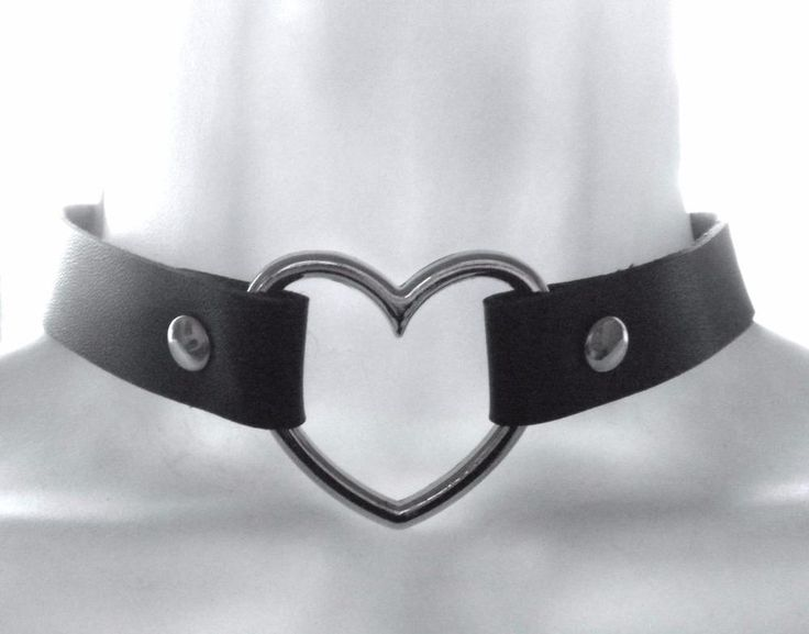 Heart Choker Flexible Faux Black Leather Pendant Women Teen Necklace Plated NEW #Unbranded #Choker