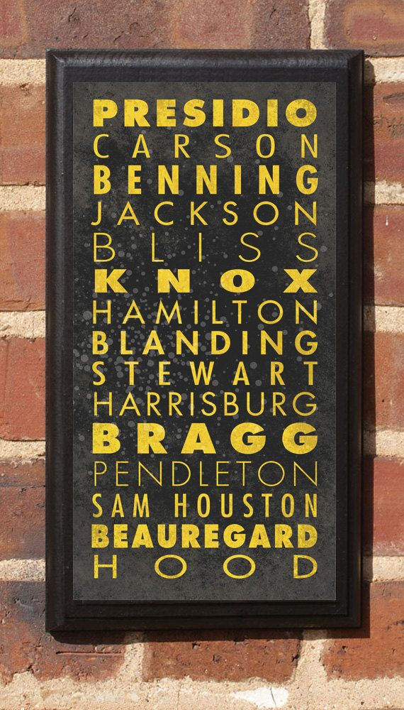 US Army Bases List in Vintage Style Wall Plaque. $42.00, via Etsy.