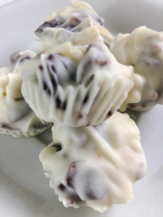 Chewy dried cherries and crunchy almonds in a sea of smooth white chocolate. Quick, easy, three ingredients. Pretty and delicious, perfect for holiday food gifting.