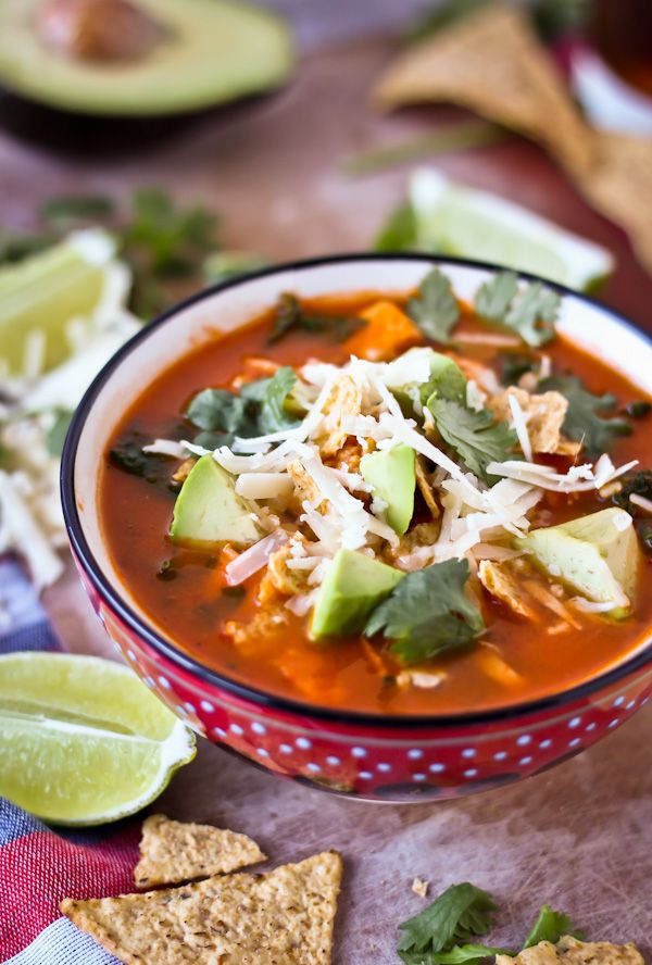 This classic Mexican tortilla soup, adapted from Rick Bayless, is one of my favorite dinners! It has so much flavor and spice, and can be thrown together in less than 45 minutes.