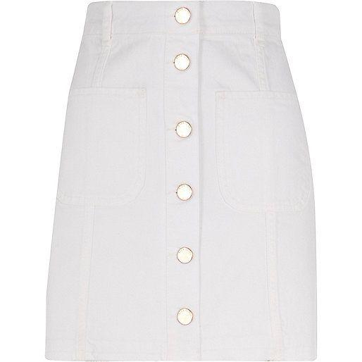 White button-up skirt - denim skirts - skirts - women