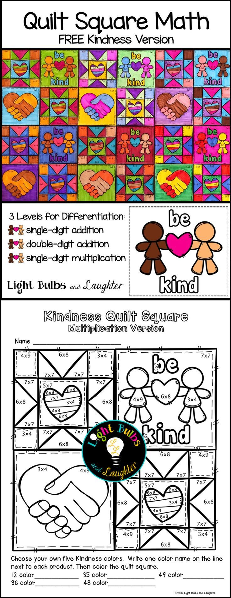 Free Kindness Quilt Math Art For Your Classroom Please