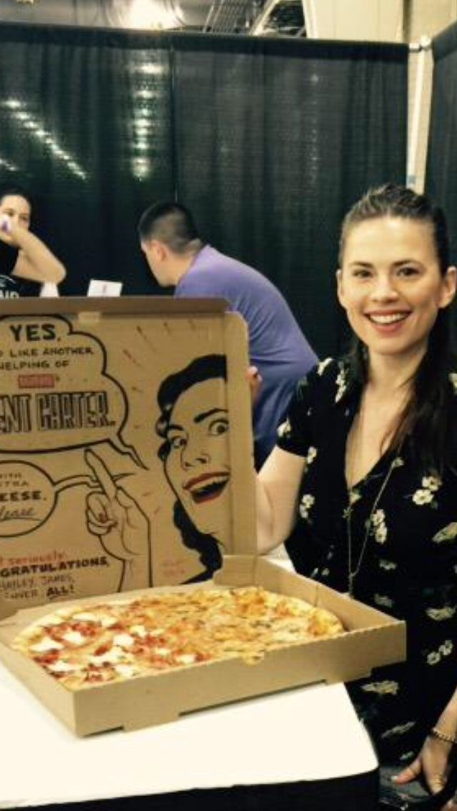 Hayley & her Agent Carter pizza box congratulating her on a season 2 :)