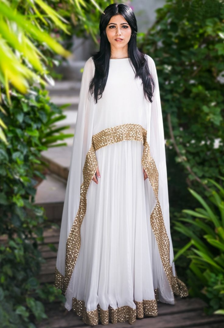 Ivory & gold embellished cape gown