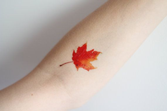 Autumn Leaf Temporary Tattoo. this would be a cool idea for a watercolor tattoo