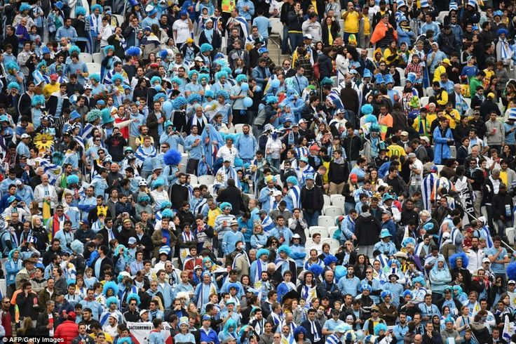 Uruguay fans before the start of the Group D football match at the Corinthians Arena in Sao Paulo