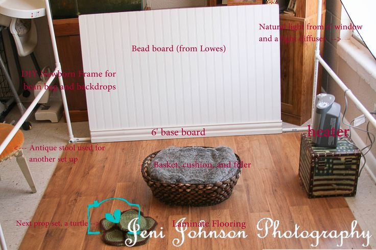 diy newborn baby photo ideas - pull back of DIY newborn photography set up Jeni Johnson
