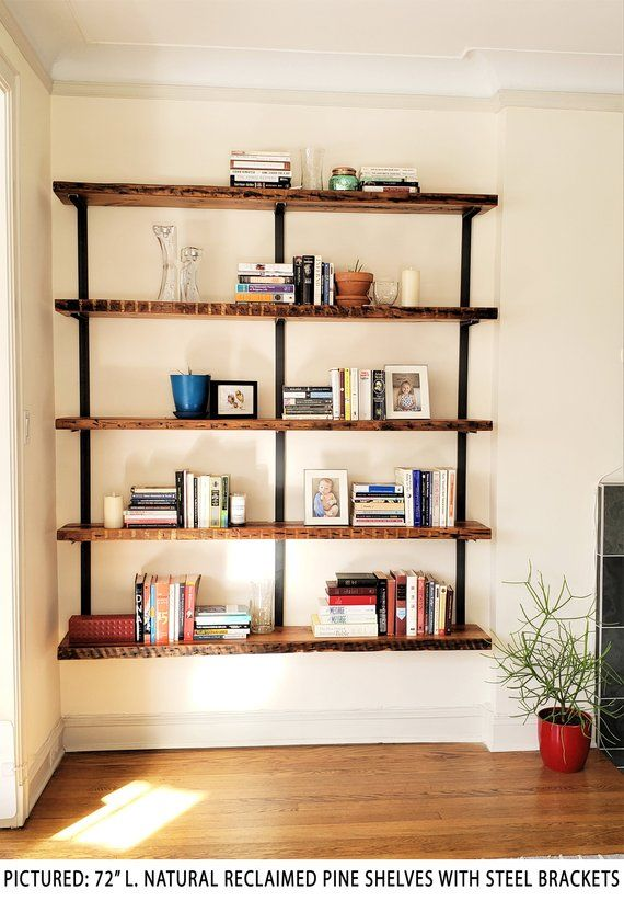 Large Wall Mounted Shelving Unit 5 Shelf Modern Wall Etsy Wall Mounted Shelving Unit Wall Bookshelves Large Wall Shelves