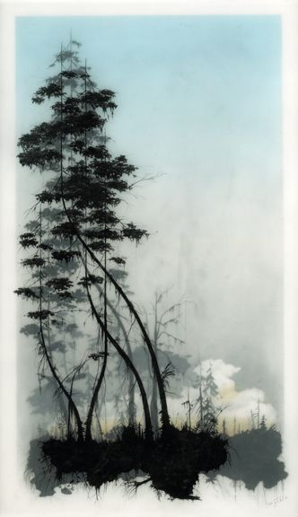 Hand drawn graphite on Duralar cast in layers of resin. Colour made using layers of transparent tape. Artist is Brooks Salzwedel. Beautifully haunting modern mixed media art.