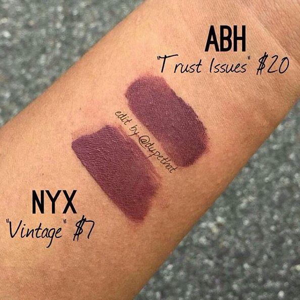 Anastasia of Beverly Hills Liquid:Lipstick 'Trust Issues' = NYX 'Vintage'