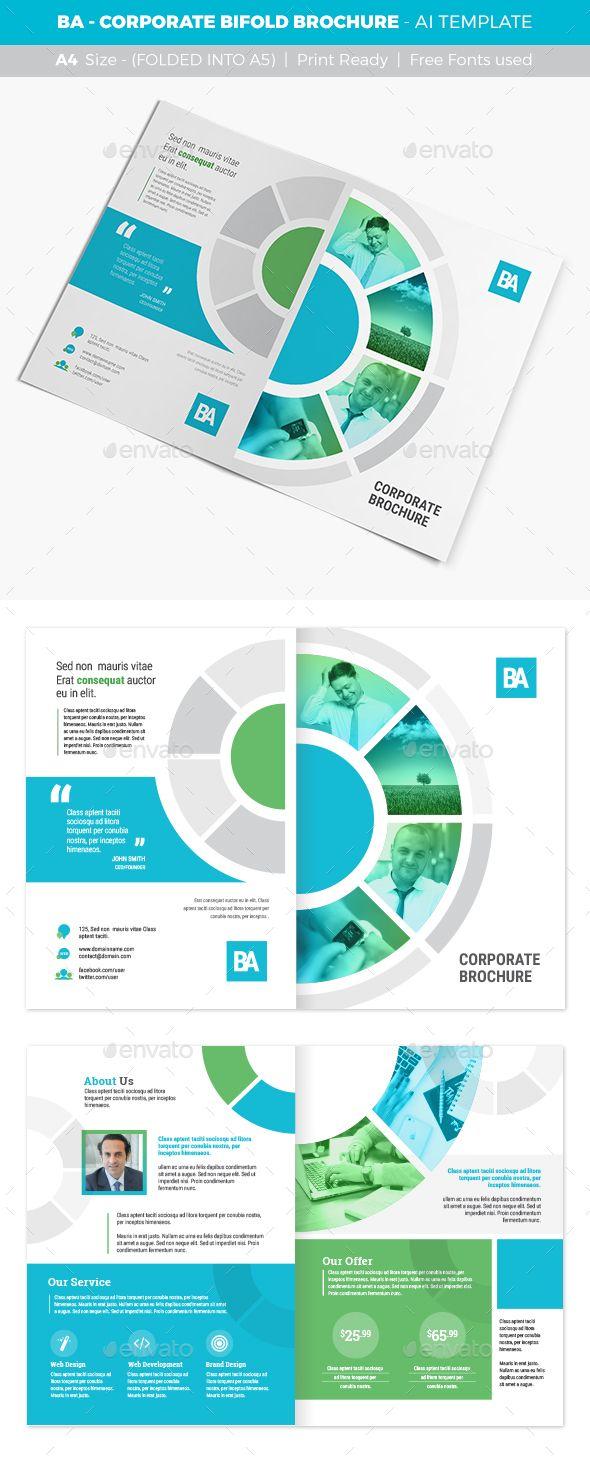 BA - Corporate Bifold Brochure Template Vector EPS, AI Illustrator. Download here: http://graphicriver.net/item/ba-corporate-bifold-brochure/16878583?ref=ksioks
