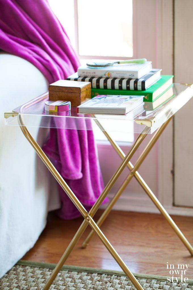 Repurposed furniture - acrylic side table