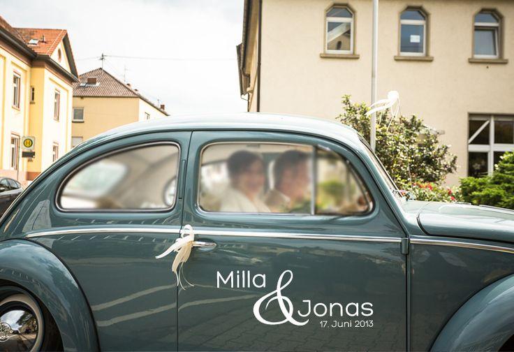 Hochzeitsdeko - Auto Aufkleber Hochzeit ♥ Namen + Datum - ein Designerstück von hellographic bei DaWanda