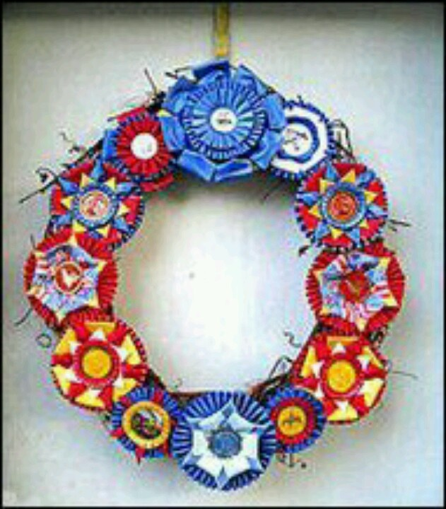 Horse show ribbon wreath! That would look cute on a tack room door