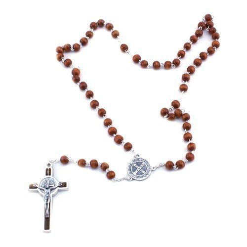 Saint Benedict Brown Wood Bead Rosary San Francis Imports, Inc. $11.95