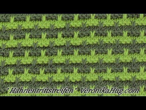 Stricken - Hebemaschenmuster - Hahnentrittstreifen - Veronika Hug - YouTube