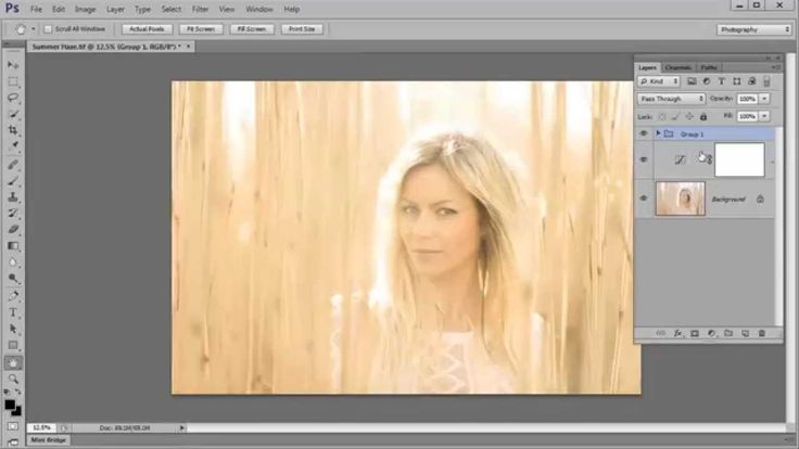 Create a vintage hazy effect with golden summer light in Photoshop