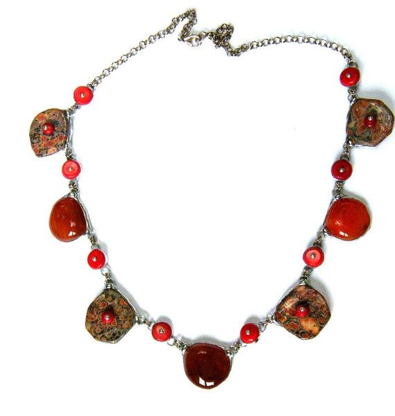 Necklace:++Jasper+and+red+coral+from++Witrażka+-+jewelry+made+of+semiprecious+stones+by+DaWanda.com