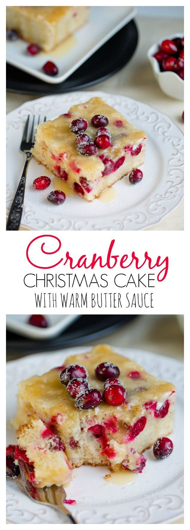 Cranberry Christmas Cake with Butter Sauce makes a special dessert for the holidays!