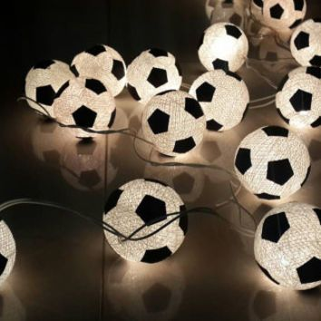 20 x white soccer ball football made from cotton ball string light kid teen bedroom decor hanging lantern party theme window light