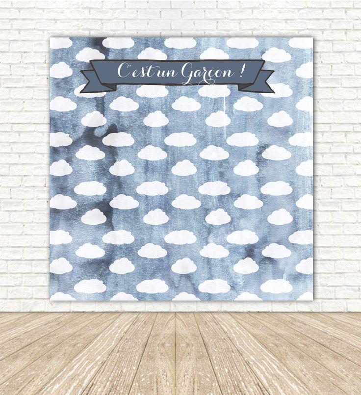 arri re plan photobooth nuages bleus pour une baby shower un bapt me ou un anniversaire d. Black Bedroom Furniture Sets. Home Design Ideas