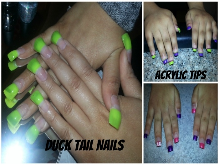 Duck Tail Nails....ugh. these things freak me out.  Who wants their nails to look like a ducks ass?