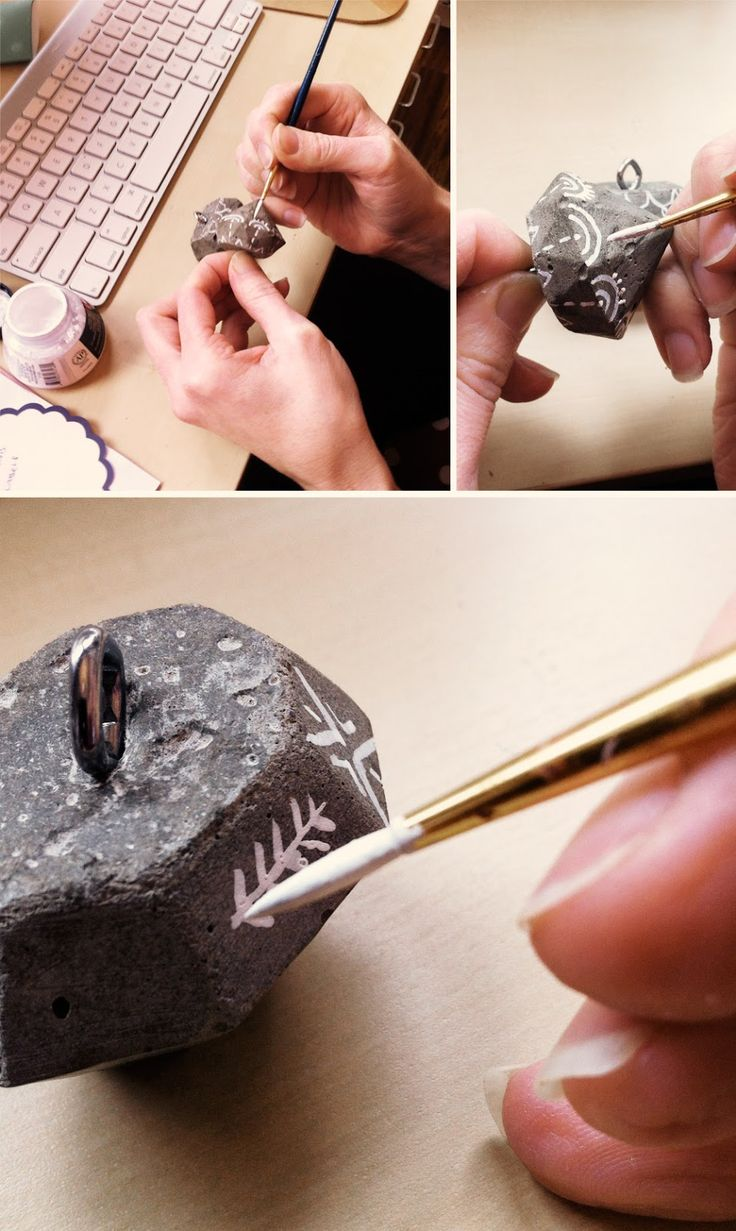 Hand painting concrete gem ornaments my clean slate blog for How to clean off spray paint on concrete