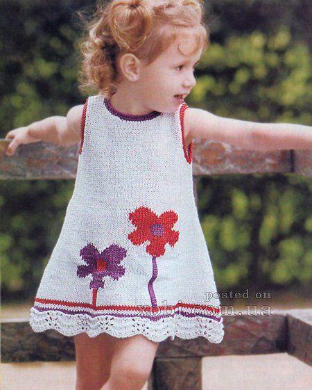 вязаный сарафан для девочки с цветами