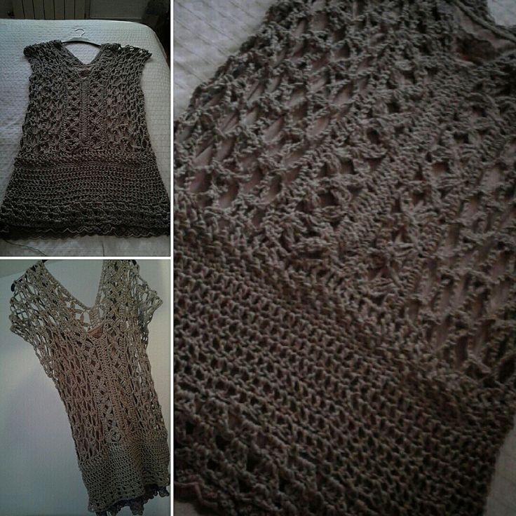 Vestido color fango a crochet