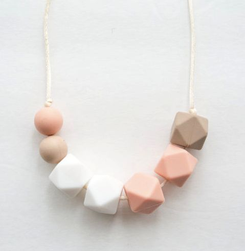 Peach Tea Silicone Bead Teething/ Nursing Necklace from Ella Bella Maternity Boutique