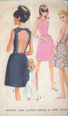 The 1968 Halter neckline took on three forms in a dress: one utilized fabric drawstring in casing at front neck, another tied in bow at back of neck, and the last had a camisole type back bodice