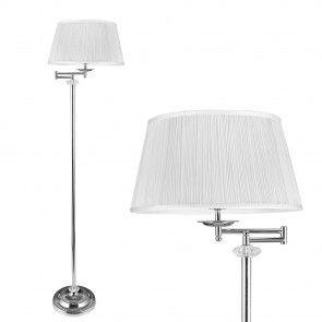 [lux.pro] Lámpara de pie moderna - E27 / 60 W / 230 V - blanca - cromo (158cm - 40 cm)- estructura de metal - 44,60 €