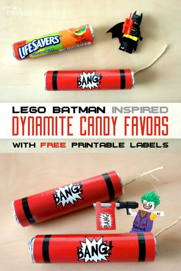 These Dynamite Party Favors come with a free printable so you can easily create these at home for your next Lego Batman, Minecraft of other party theme!