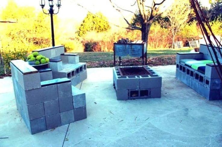мебель из шлакоблоков для сада