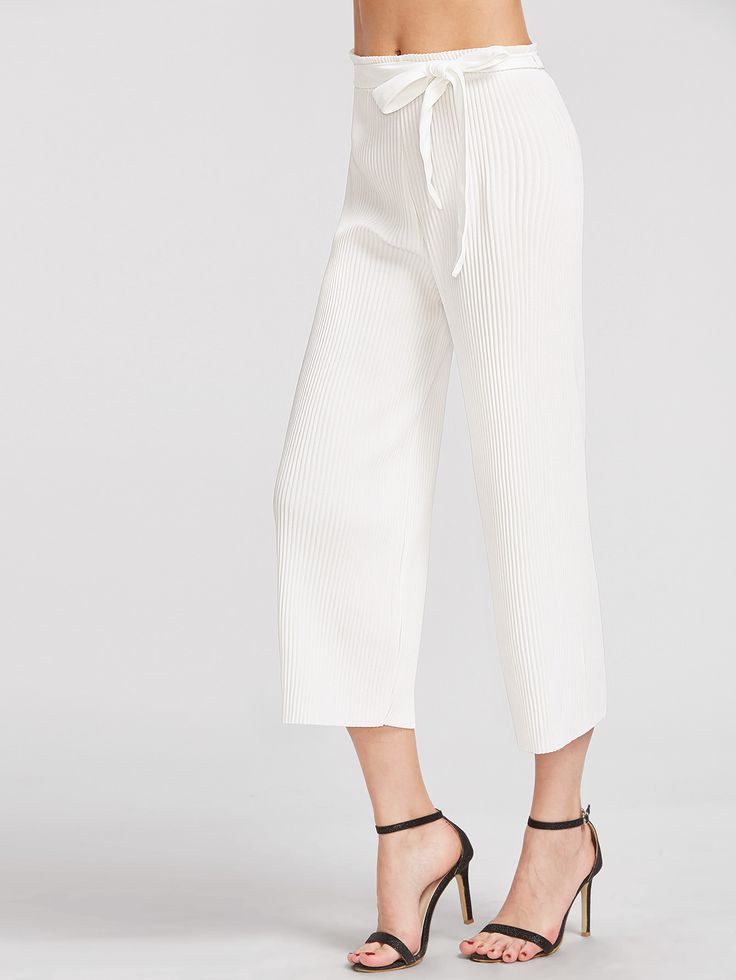 Pantalones anchos plisados con cinturón -Spanish SheIn(Sheinside)