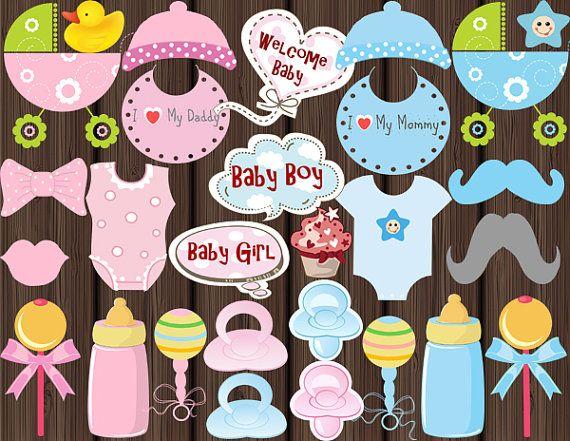 Instantánea Descargar: Bebé ducha Photo booth Props imprimible - gorrita tejida del bebé, Dummies/chupetes, baberos y más 0187