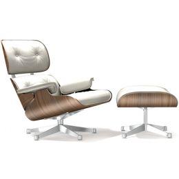 Vitra Eames Lounge lenestol med skammel, hvit versjon.