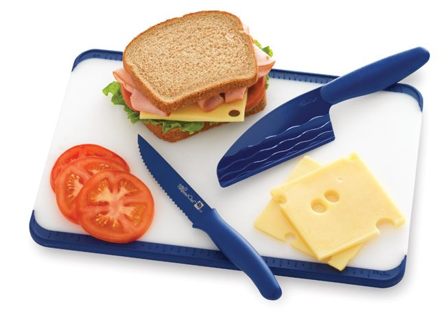 Our popular Color Coated Tomato Knife and Easy Release Cheese Knife now inspire blue kitchens.