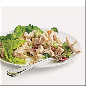 This is a great chicken salad recipe from Cooking Light. I usually just use chicken breast rather than the chicken halves they recommend. I also like to add green apple to the mix.