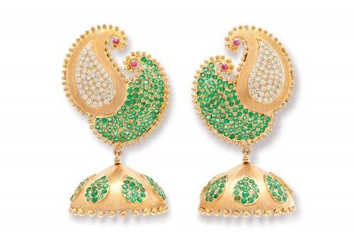 Saramati Emerald and Diamond Paisley Jhumka