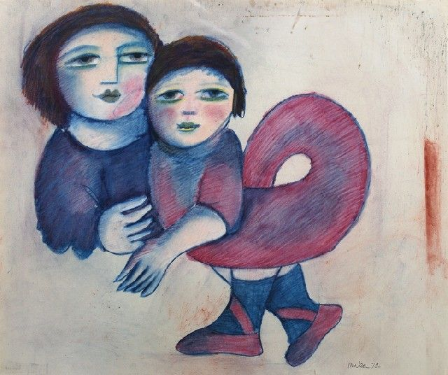 Mother  Child 1979 Pastel:  Mirka Madeleine Mora (1928-.) Australia