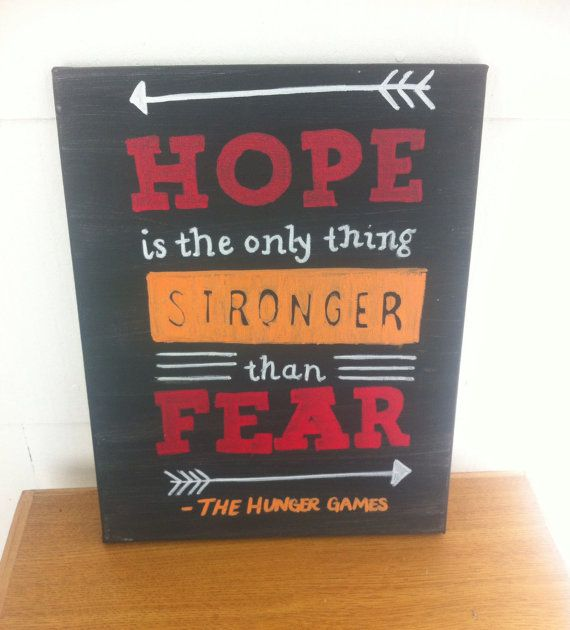 Hunger Games quote Hope is the only thing stronger than fear. Measures 11 x 14